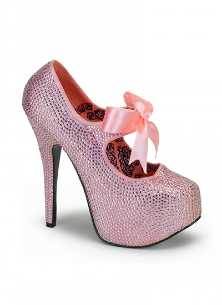 Pink Rhinestone Bordello Platform Shoes