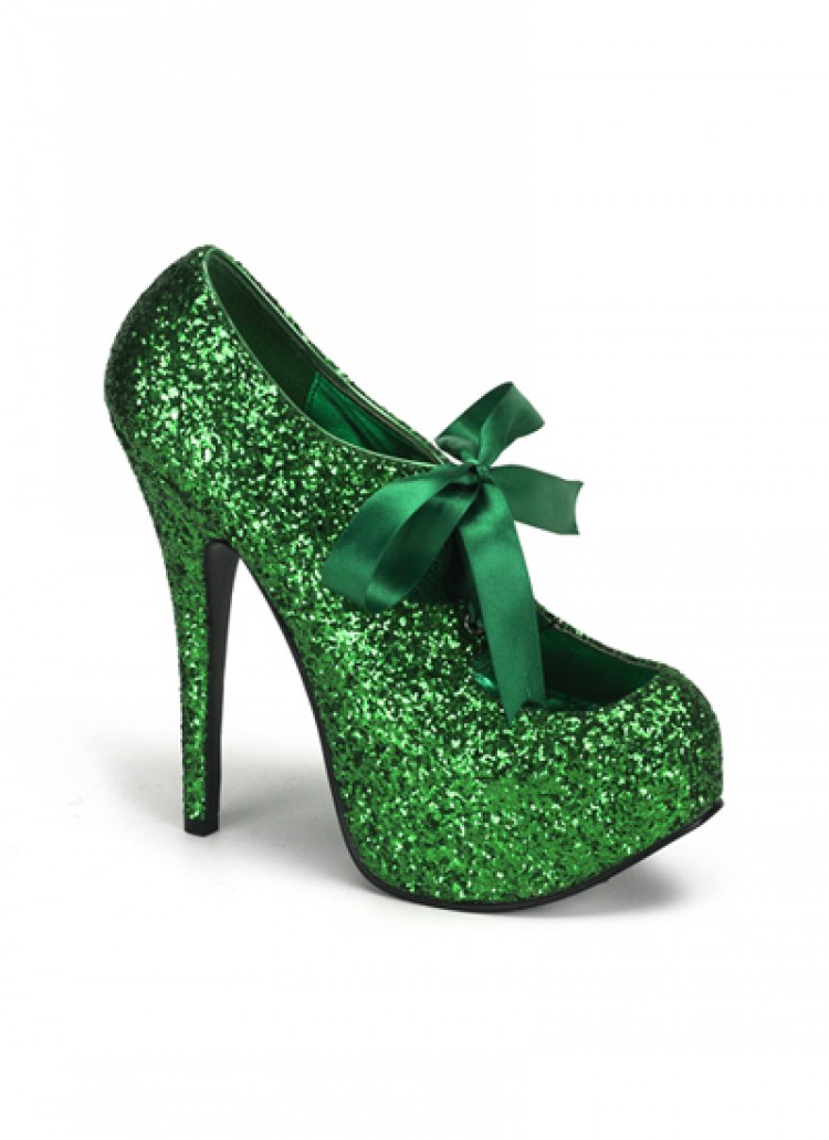 Green Glitter Bordello Platform Shoes