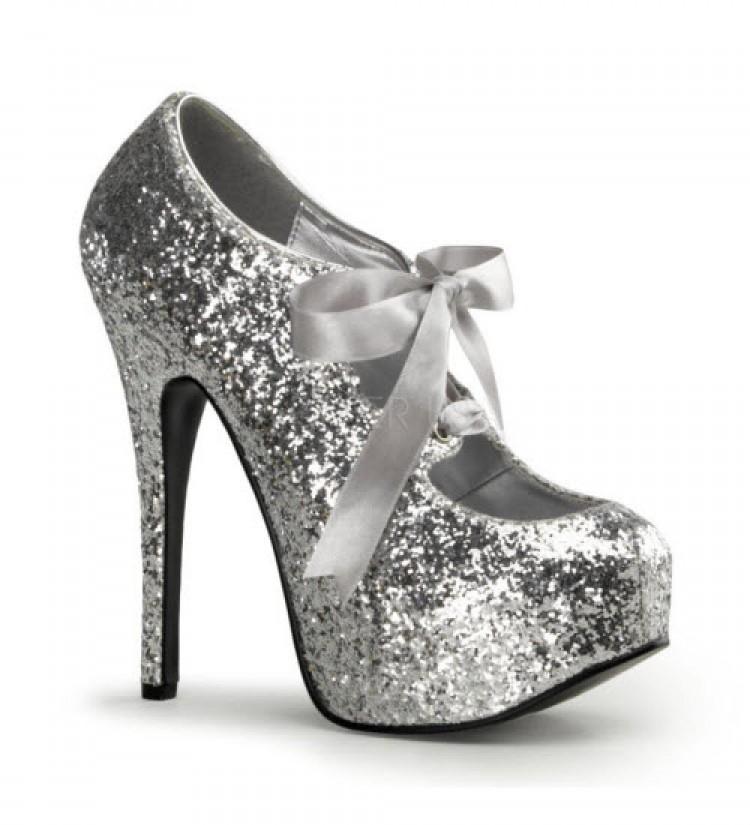 Silver Glitter Bordello Platform Shoes