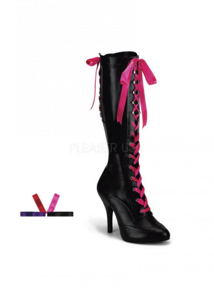 Black Burlesque Knee Boots