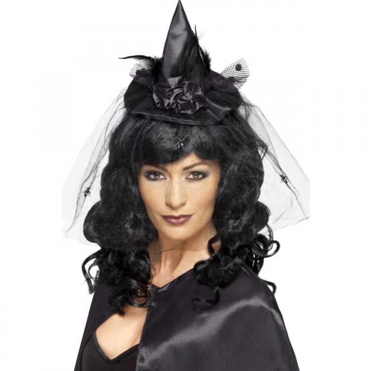 Black Burlesque Witch Mini Hat