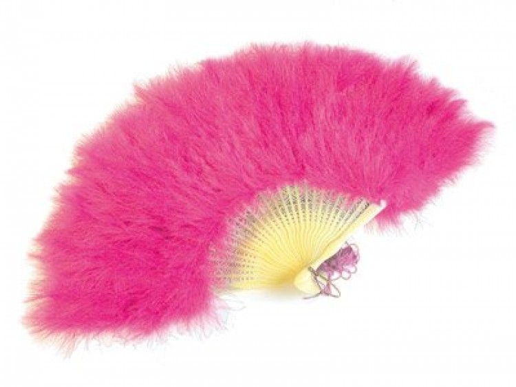Deluxe Pink Burlesque Feather Fan