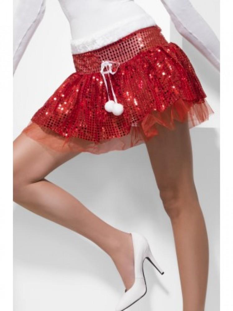 Sequin Santa Tutu Mini Skirt