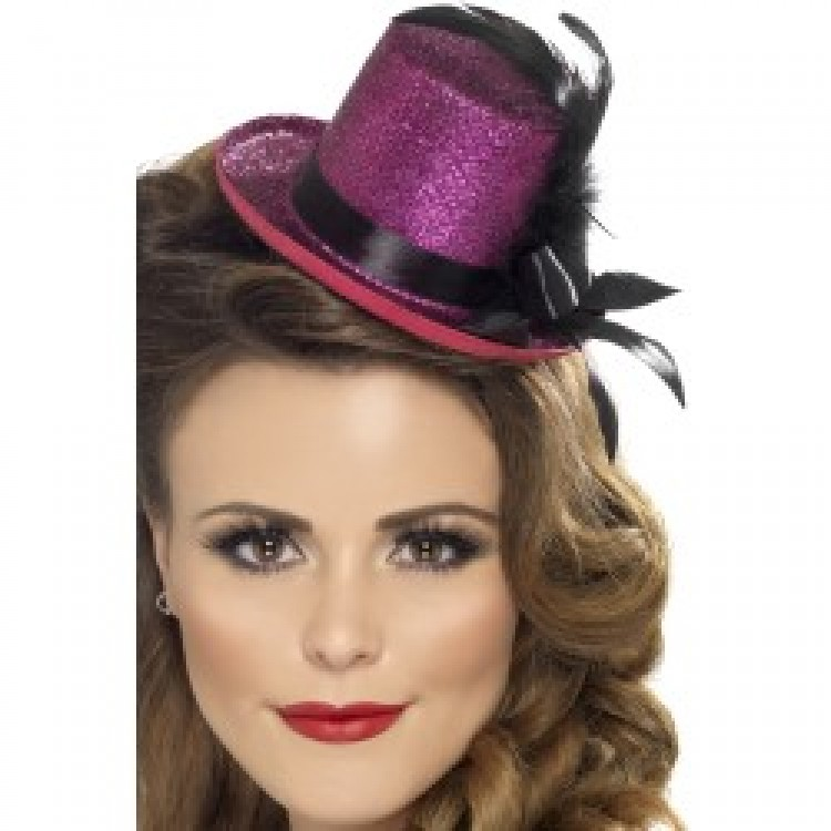 Pink / Purple Glitter Mini Top Hat