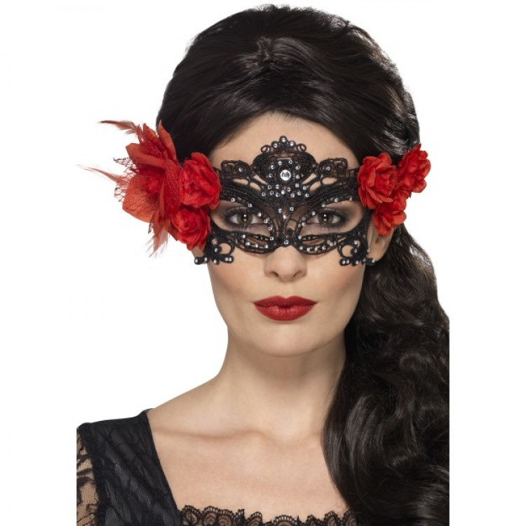 Black Lace Filigree Eyemask With Roses