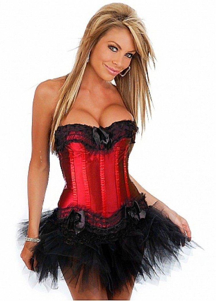 Red Satin Corset Top with Tulle Ruffles and Lace with Tutu Skirt