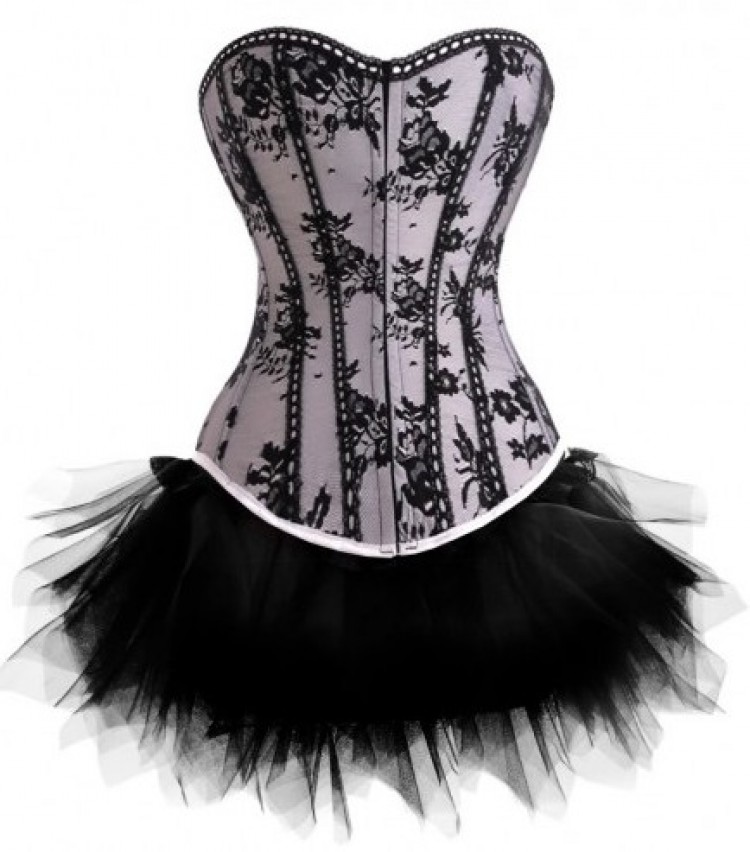 Silver Corset Outfit with Black Lace Overlay