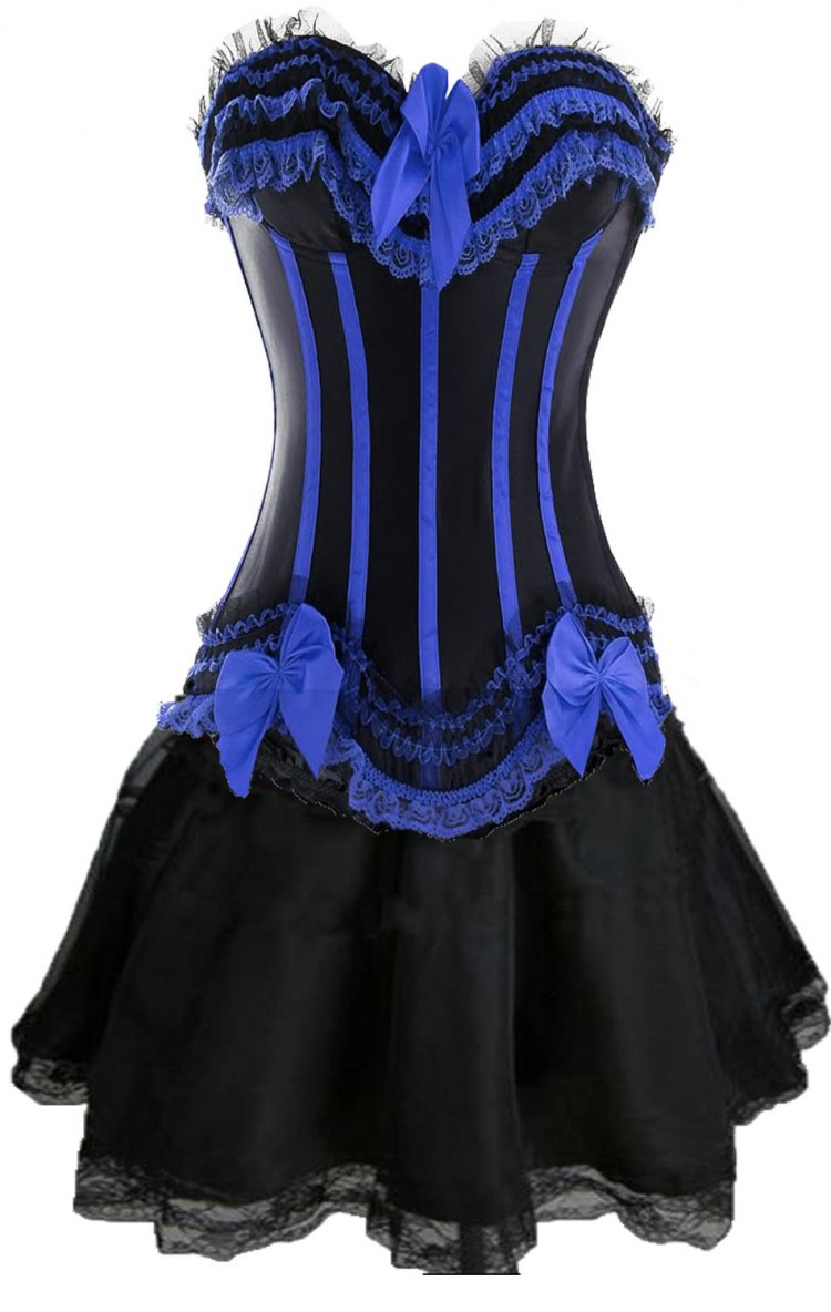 Black and Blue Corset Top with Black Burlesque Skirt