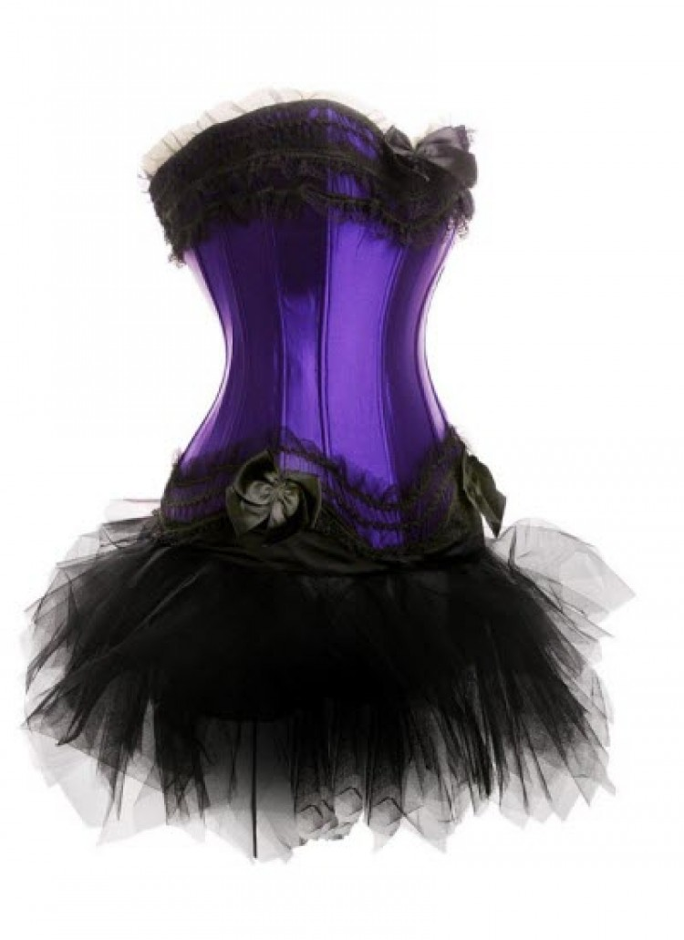 Purple Satin Corset Top & Tutu Skirt