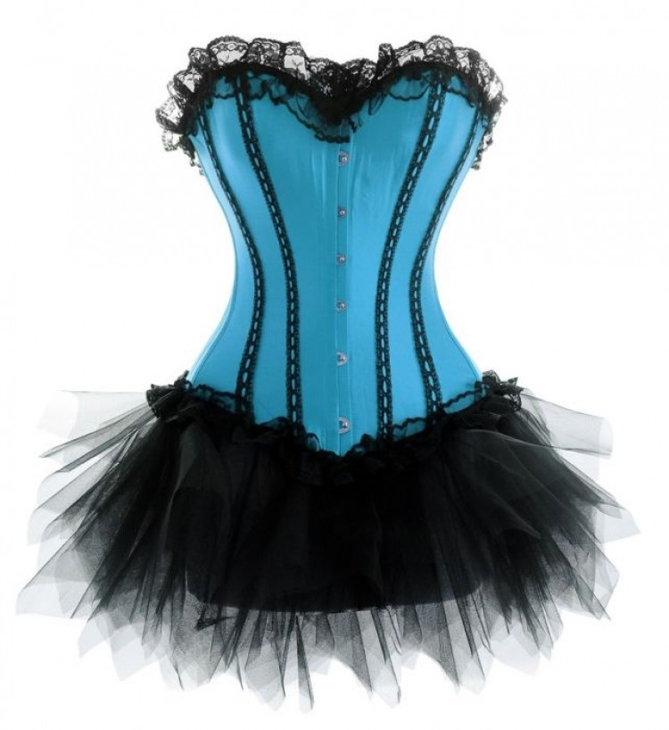 Turquoise Corset Outfit with Lace Trim