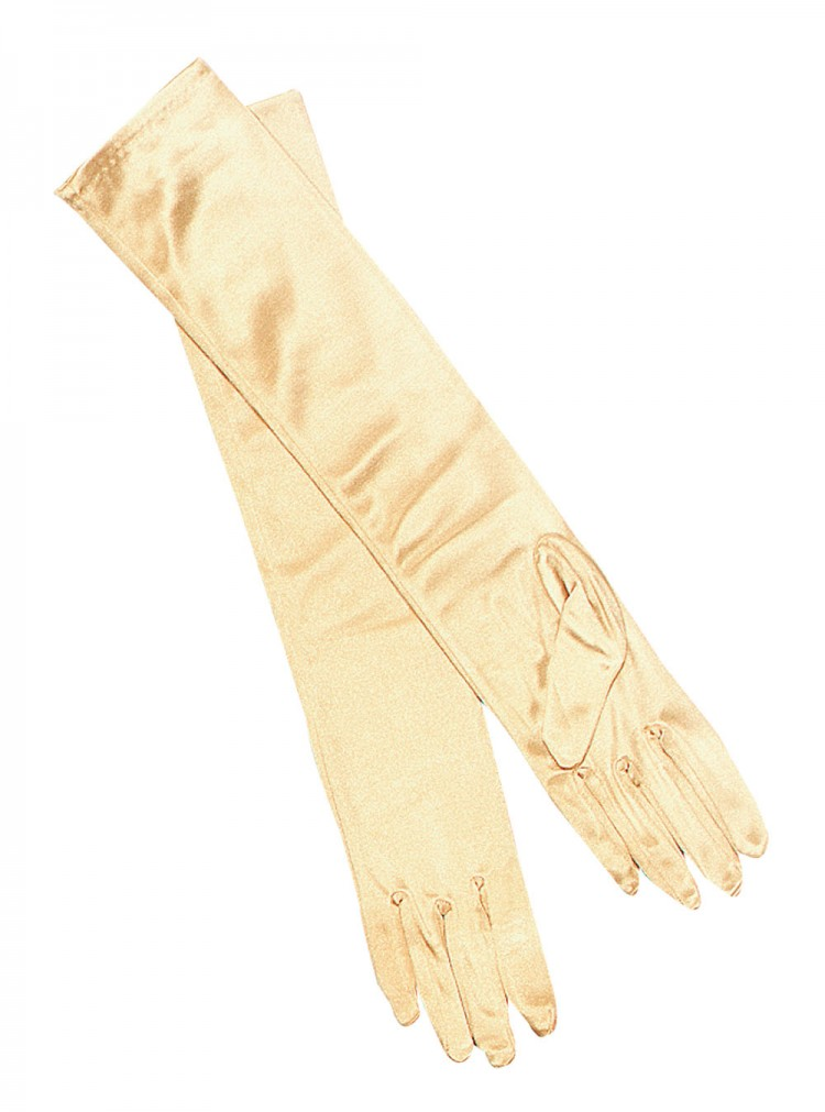 "15"" Long Lamé Gold Gloves"