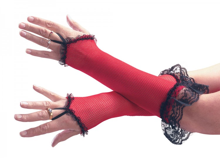 Red Fishnet Fingerless Gloves with Lace