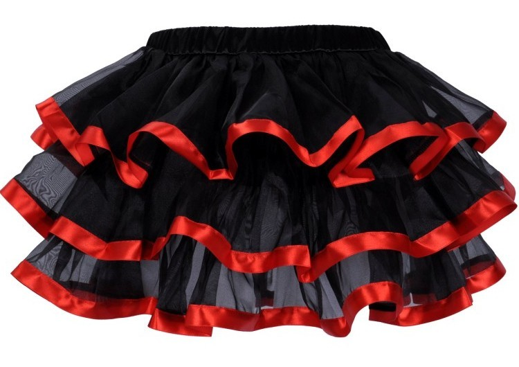 Black  and Red Layered Ribbon Burlesque Skirt