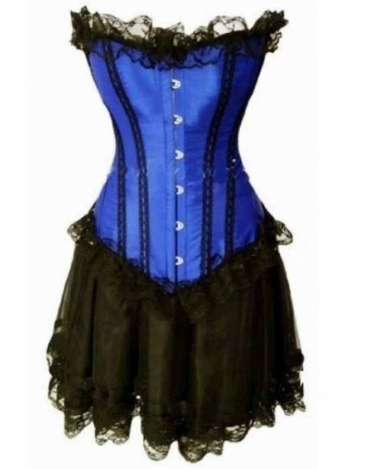 Blue Lace-up Corset Outfit & Burlesque Skirt