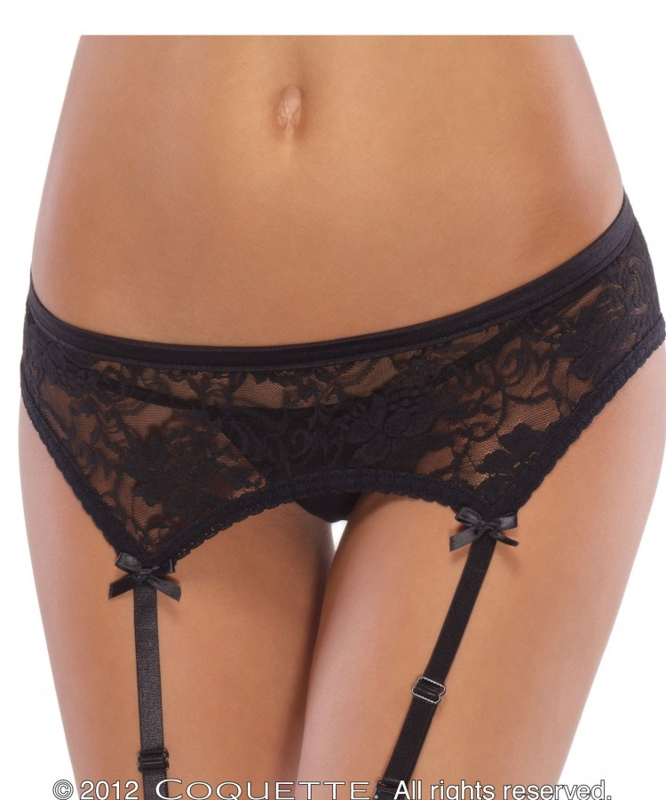 Coquette Black Lace Garter Belt
