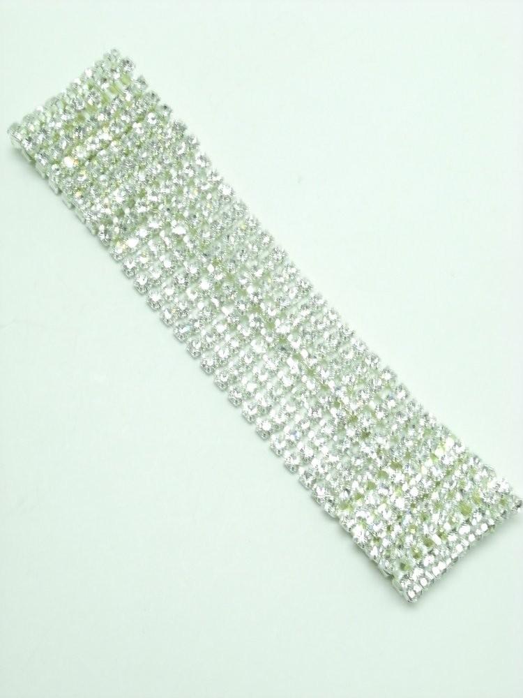 9 Row Silver Crystal Choker