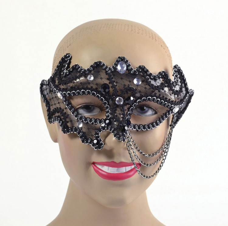 Black Decorative 3/4 Glasses Style Eyemask