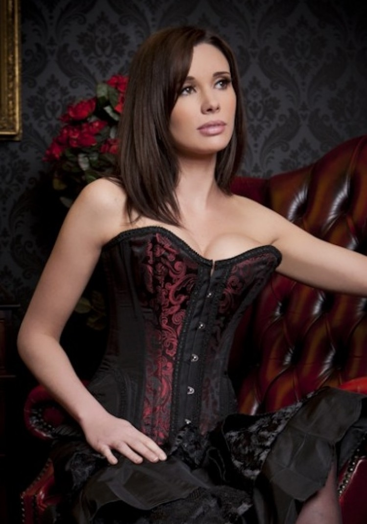 Plain Black Taffeta Steel Boned Corset