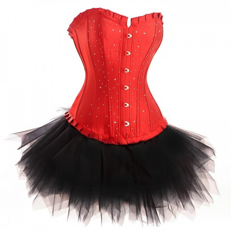 Red Diamante Satin Corset Top & Tutu Skirt