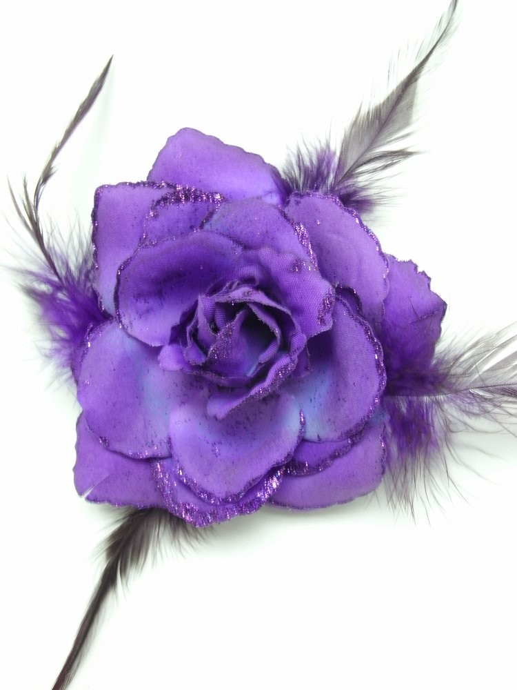 3 in 1 Purple Rose Flower Clip
