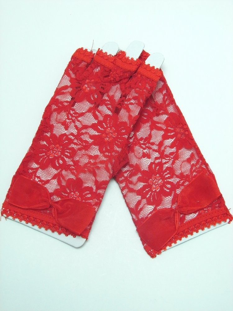Short Red Lace Gloves