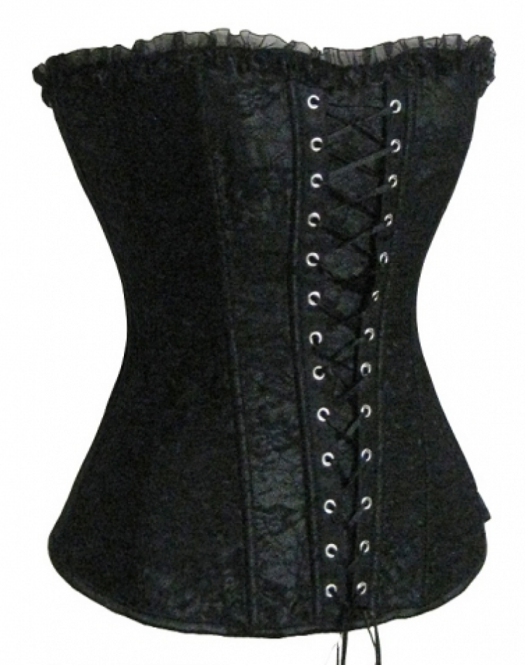 Black Satin Lace Corset Top