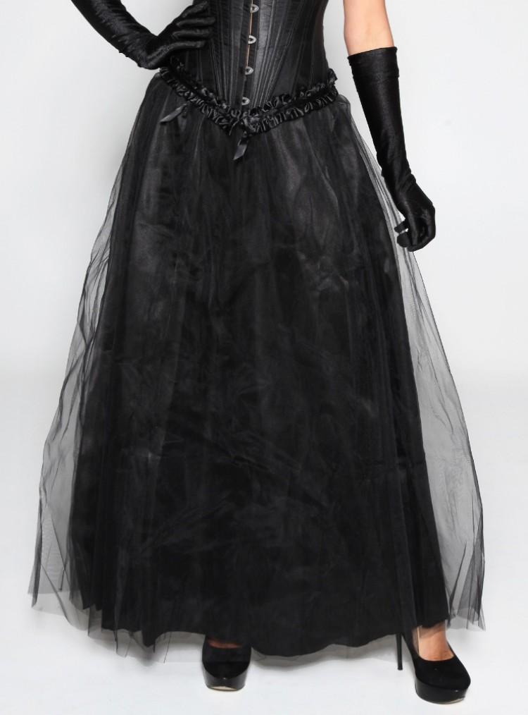 Maxi Long Black Tulle Skirt