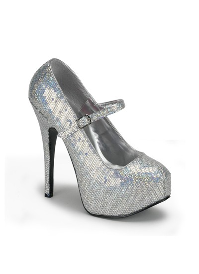 Silver Hologram Sequin Bordello Shoes