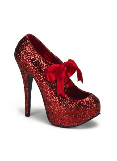 Red Glitter Bordello Platform Shoes