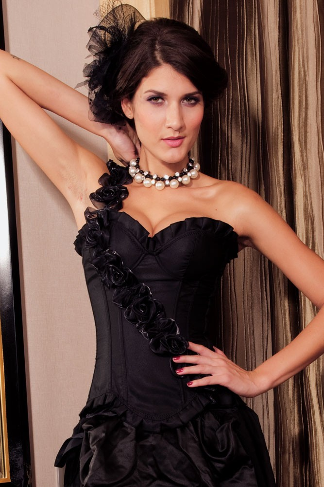 Black Corset Top with Rose Sash