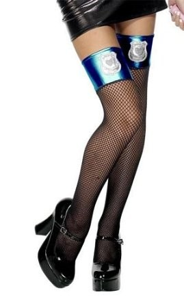 Black Thigh High Stockings With Police Badge