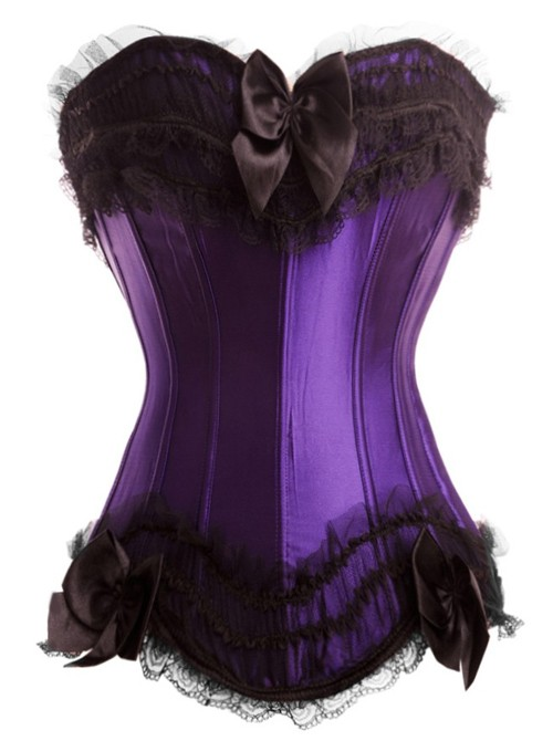 Purple Satin Corset Top with Tulle Ruffles and Lace