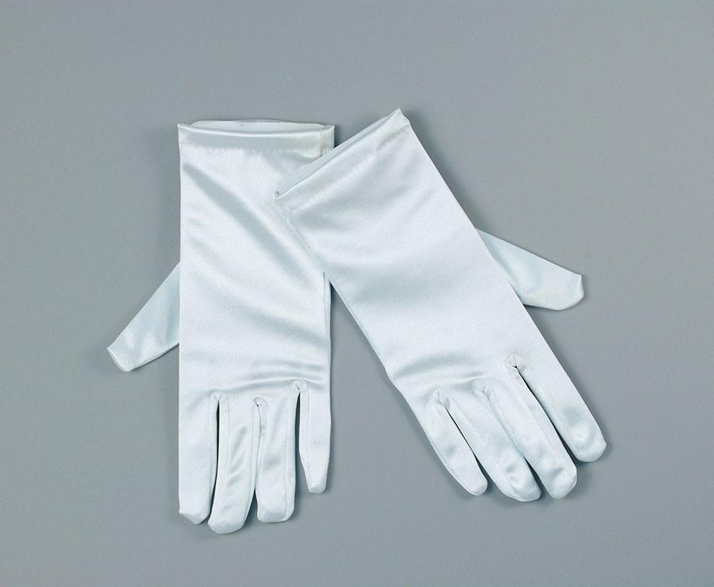 """White Satin 9"""" Gloves"""