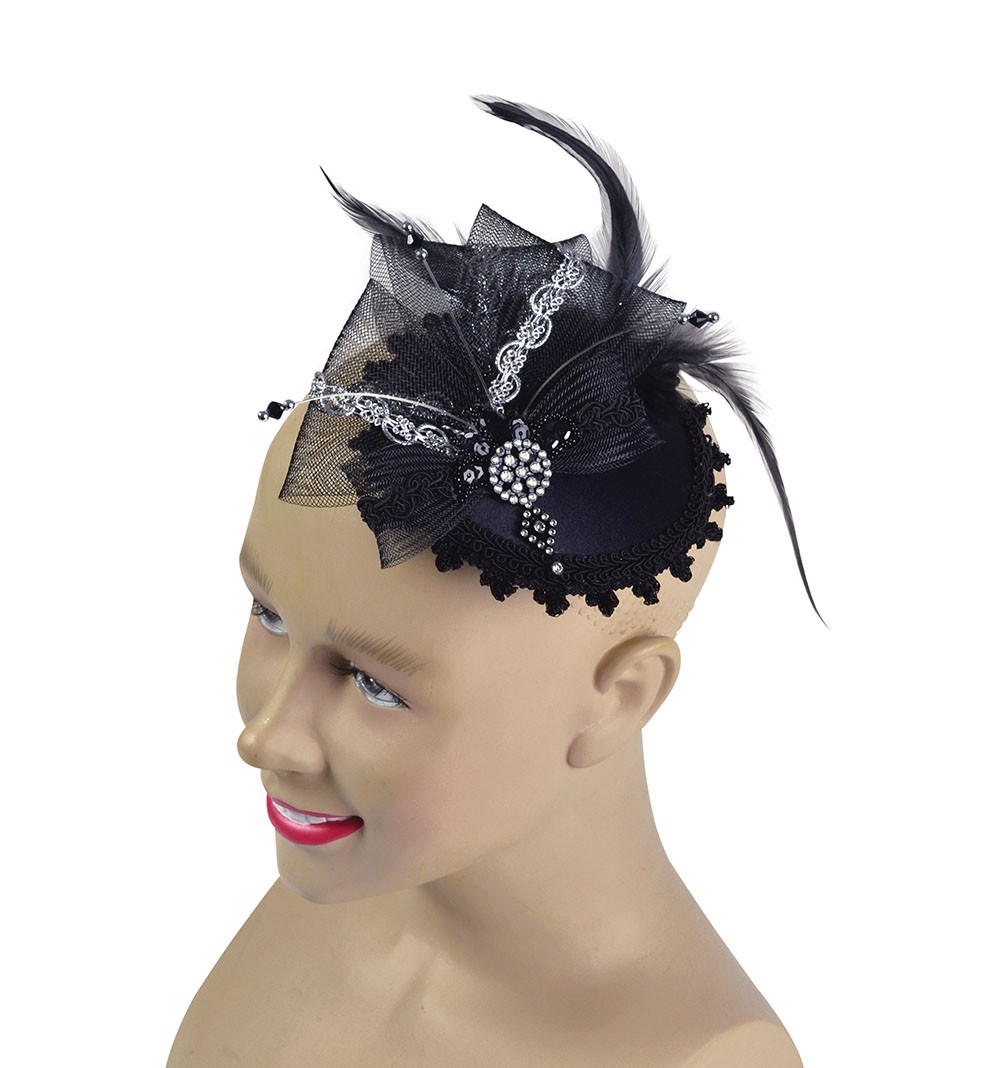 Fancy Black Mini Hat with Comb