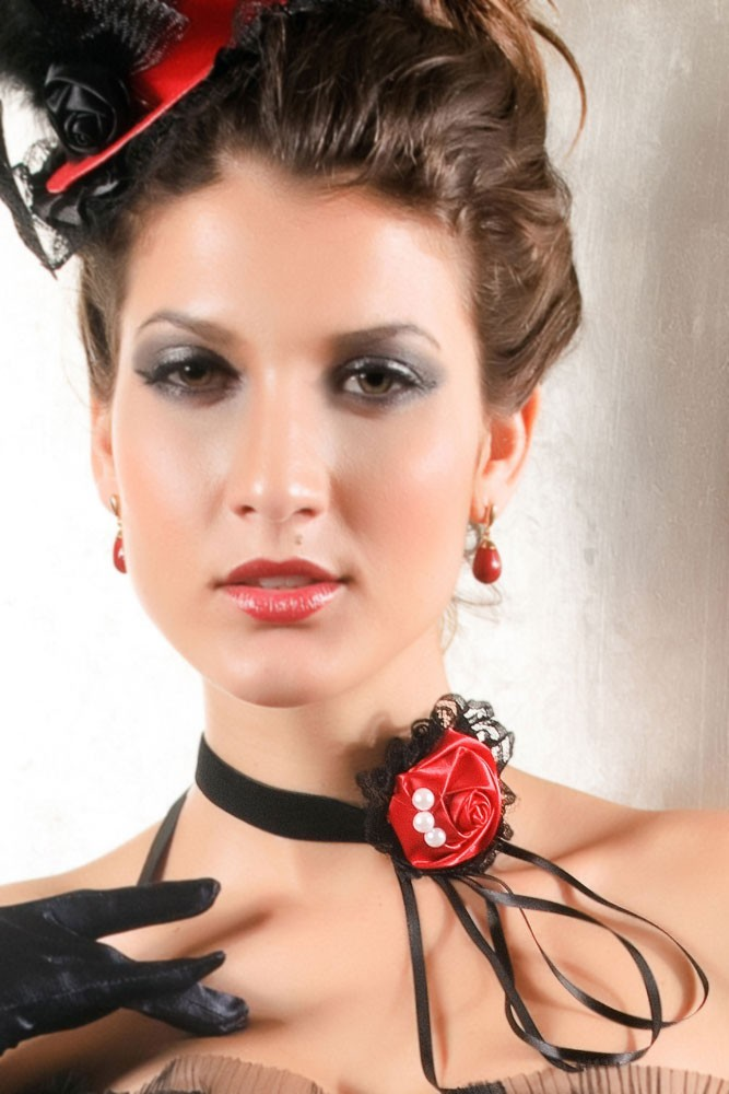 Red Lolita Rose Tassel Lace Necklace