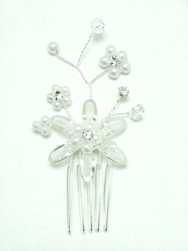 Silver Pearl Crystal Spray Hair Comb