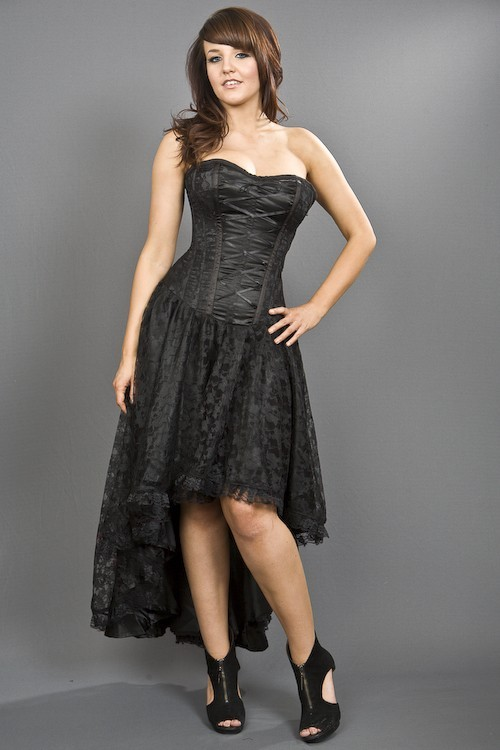 Black Mollflander Satin Dress