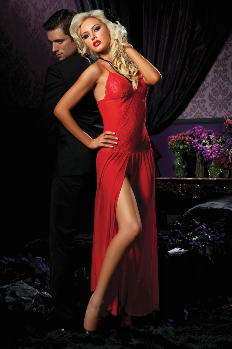 Sultry Red Floor Length Gown