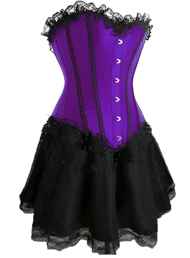 Purple Lace-up Corset Outfit & Burlesque Skirt
