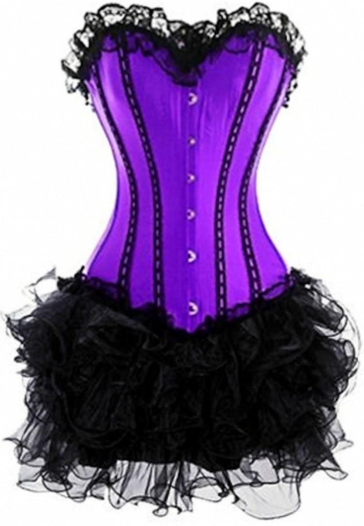 Purple Lace-up Corset Outfit & Burlesque Tutu