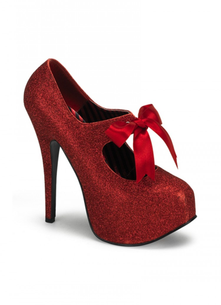 Red Mini Glitter Bordello Platform Shoes
