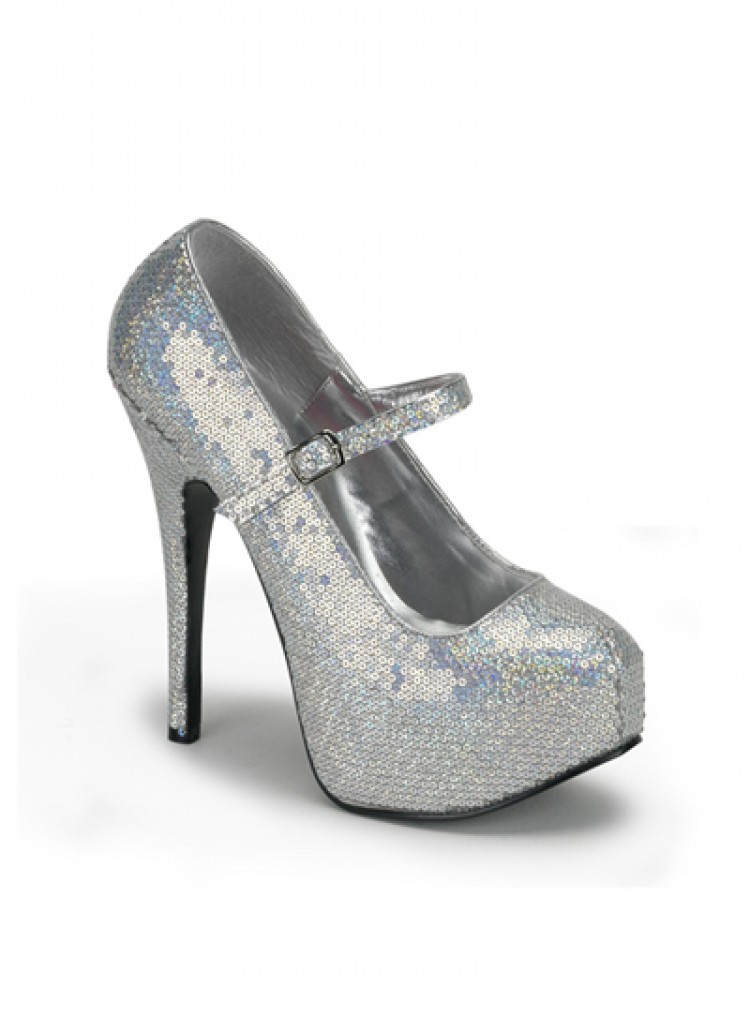 Silver Hologram Sequin Bordello Shoes