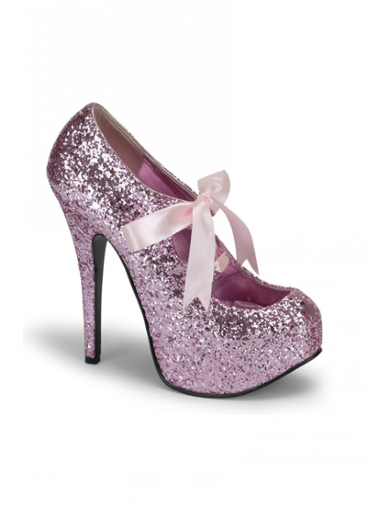 Pink Glitter Bordello Platform Shoes