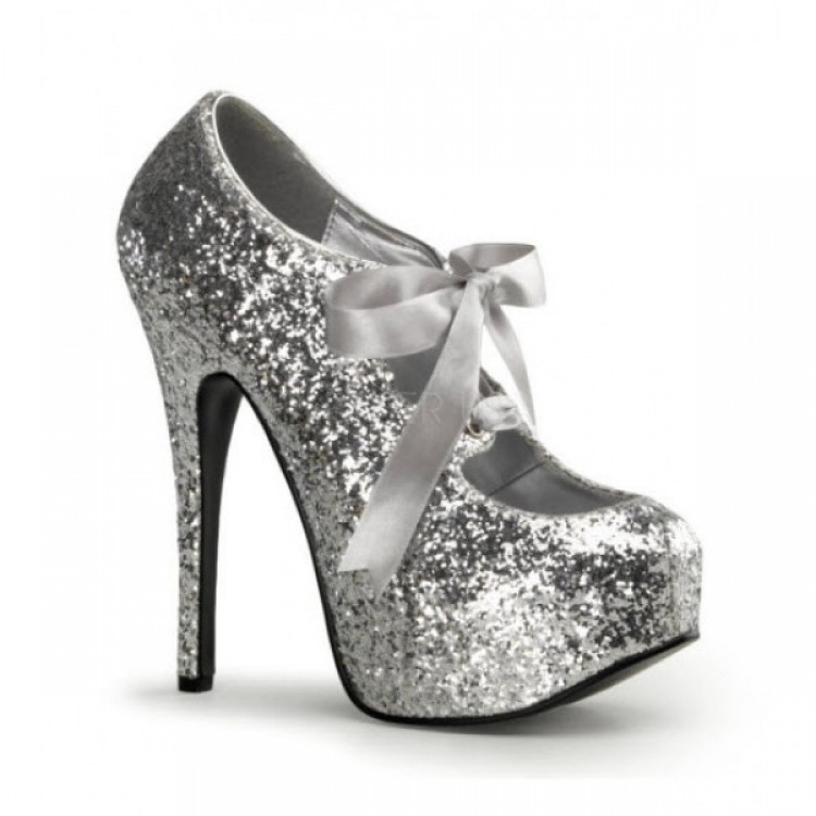 SILVER GLITTER BORDELLO PLATFORM SHOES - Uk 3