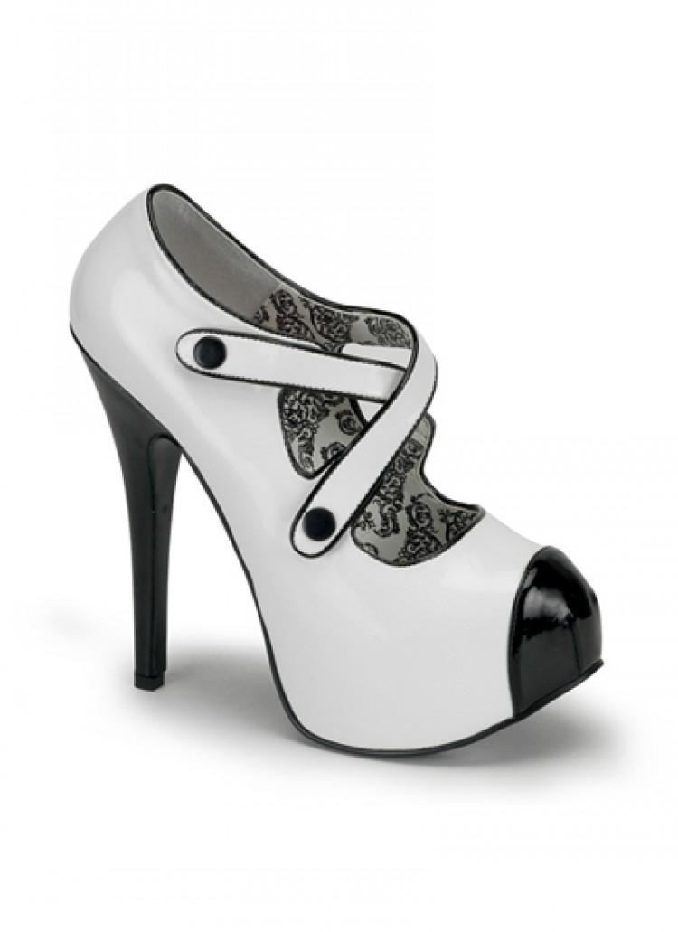 White Black Bordello Shoes with Straps