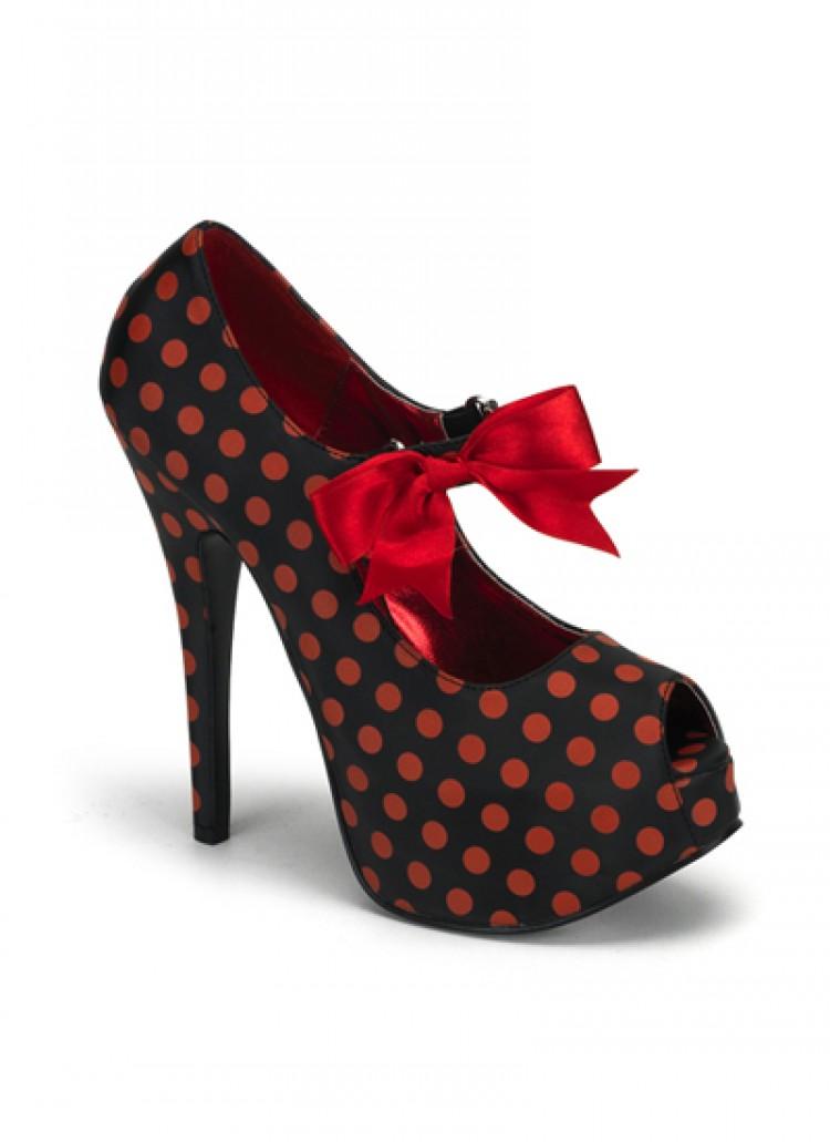 Black Red Polkadot Bordello Shoes