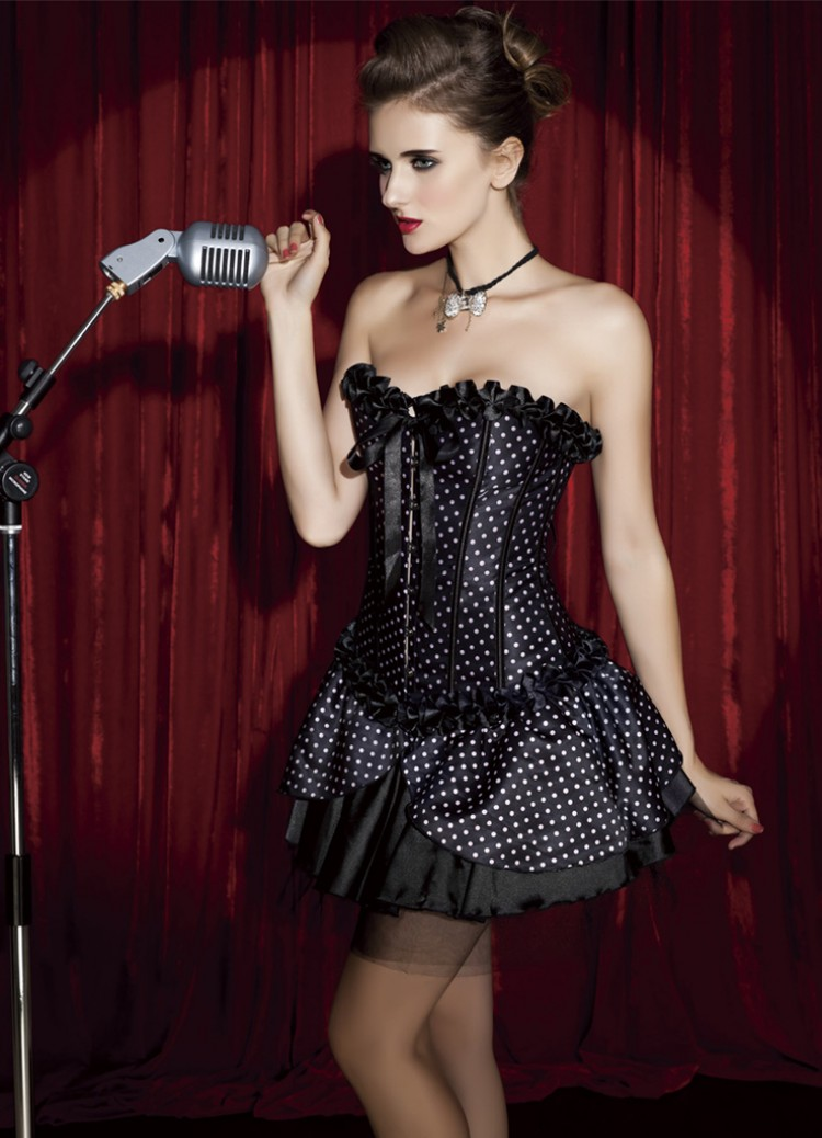 Black Satin Polka Dot Corset & Skirt Set
