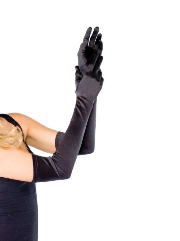 Long Black Satin Gloves