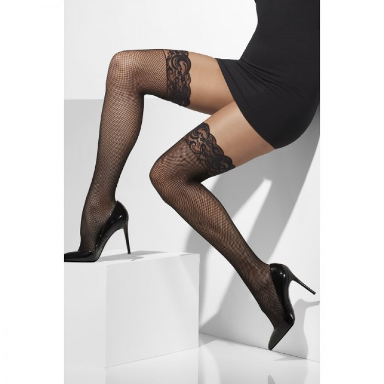 Black Lace Top Fishnet Hold Ups With Silicone