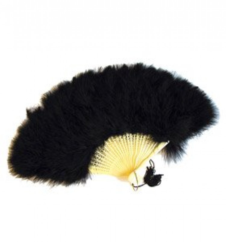 Deluxe Black Burlesque Feather Fan
